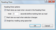 Outlook Mail - Reading Pane Options